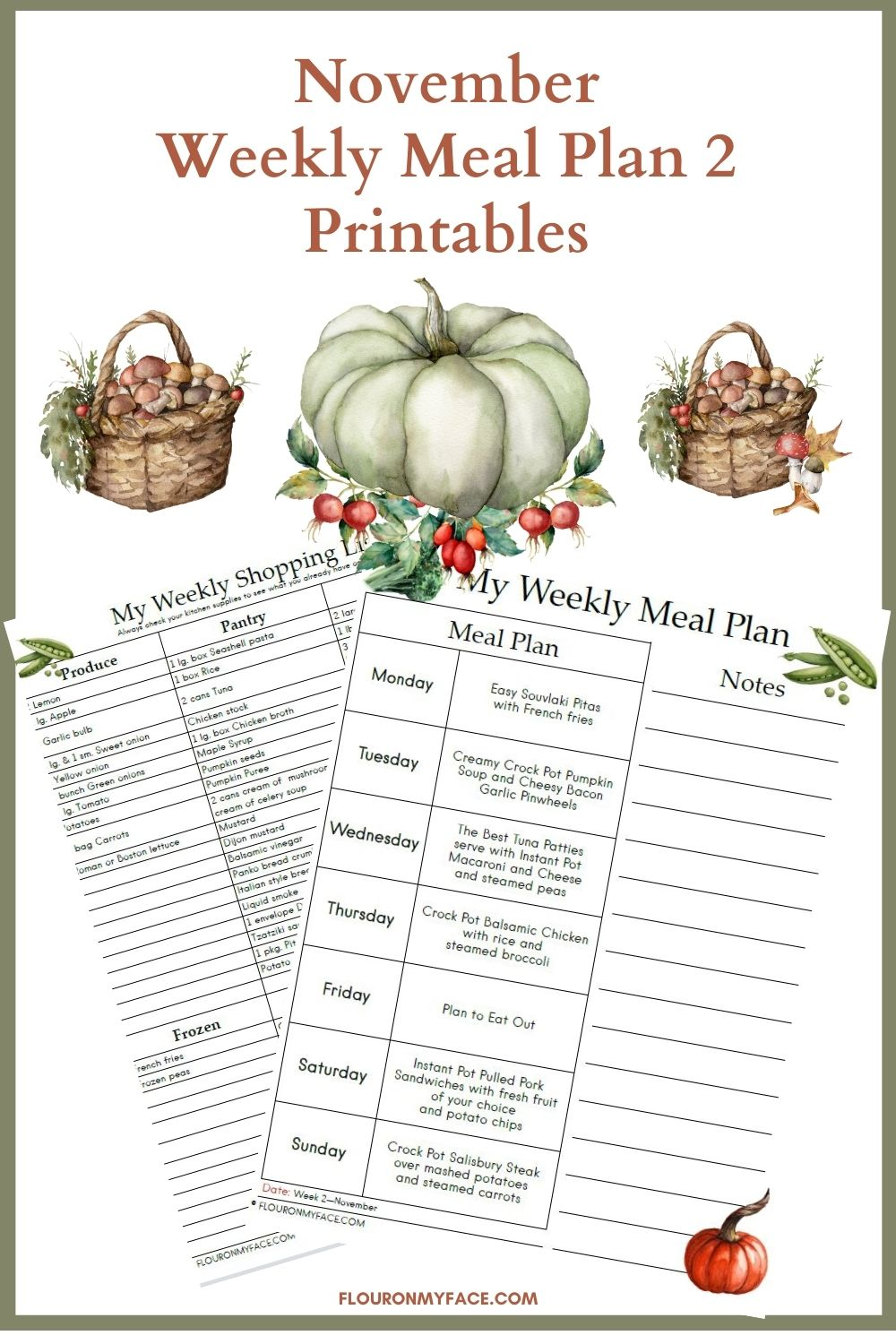 November Meal Plan 2 printable preview