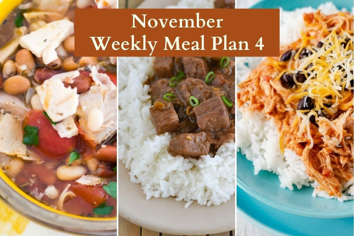 Three photo collage of November meal plan recipes