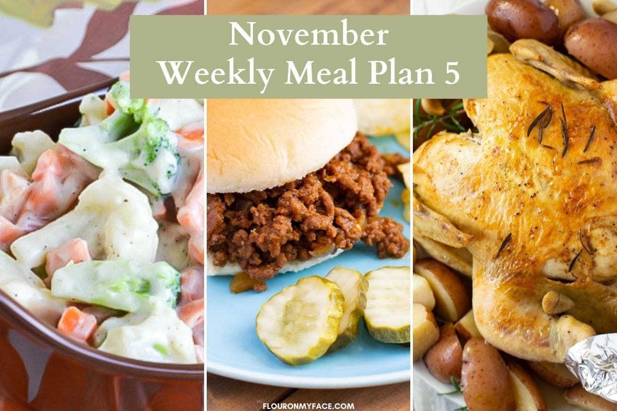 Three photo collage of Meal Plan November featured recipes.