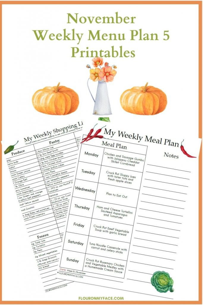 November Weekly Meal Plan Printables Preview Image