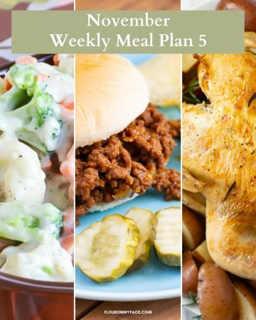 November Weekly Meal Plan 5 Featured Recipes Collage Image.