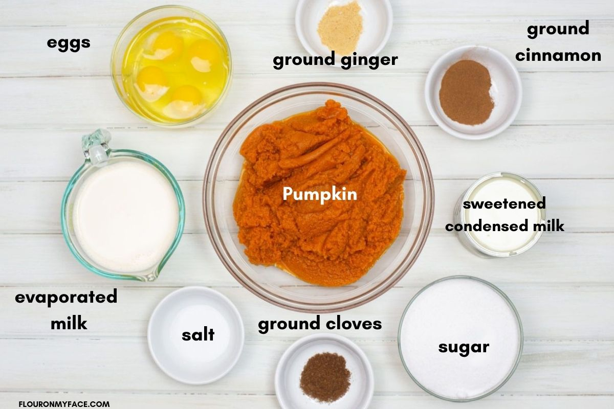 Pumpkin Pie Ingredients in individual bowls.
