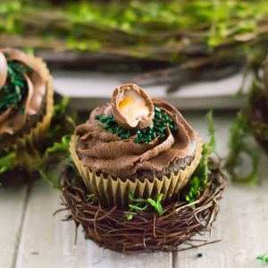 Chocolate cupcake decorated with Cadbury Egg.