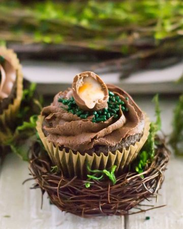 Chocolate cupcake decorated with Cadbury Egg.
