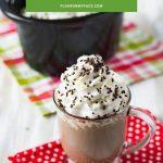 Crock Pot Hot Cocoa in a glass mug.