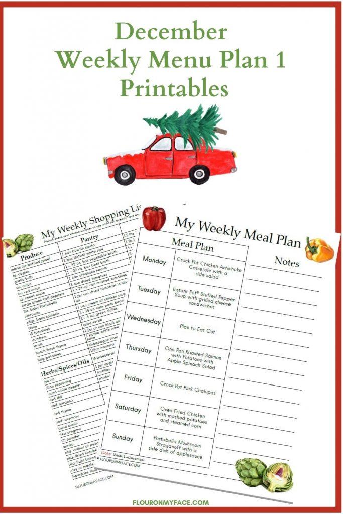 December Weekly Menu Plan Week 1 Printables preview
