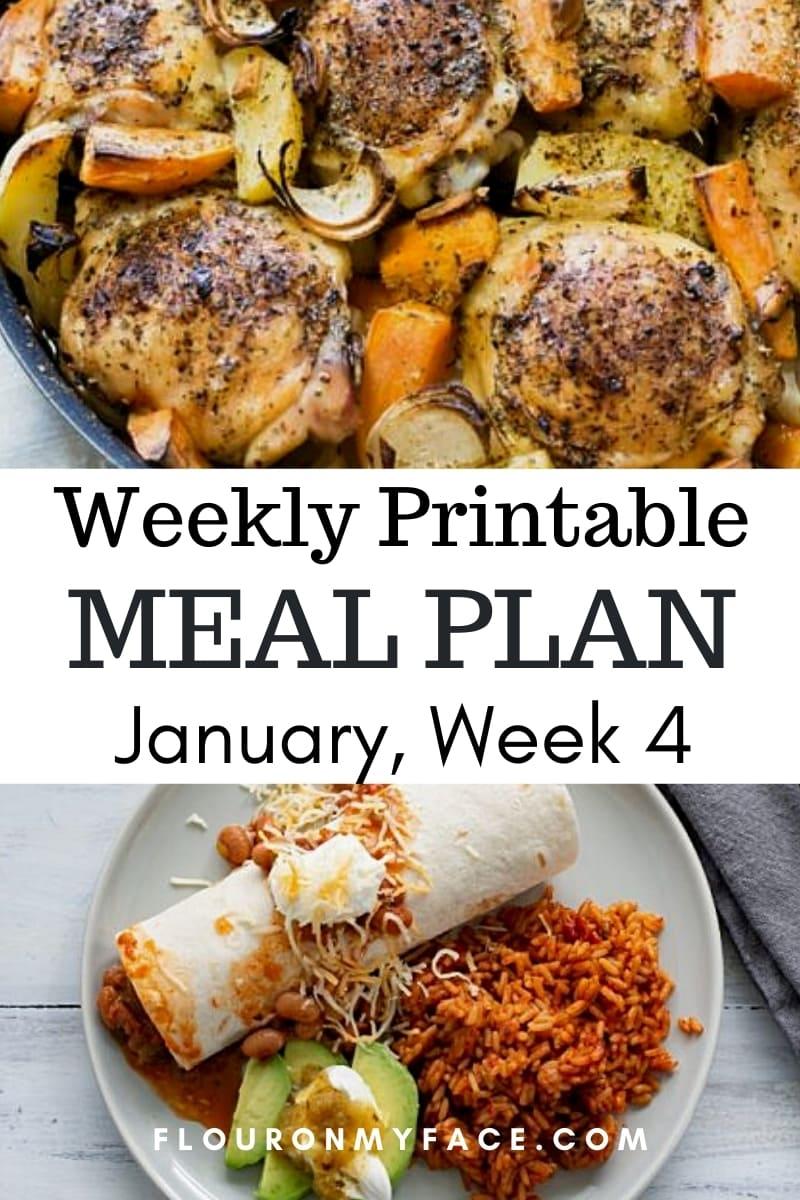 January Menu Plan Week 4 preview of 2 recipes