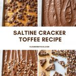 Four picture collage of making Saltine Cracker Toffee.