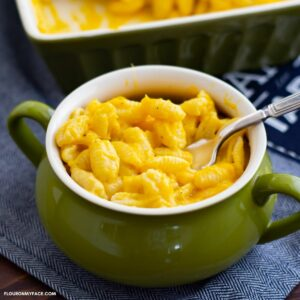 Butternut squash Mac and Cheese in a green bowl.