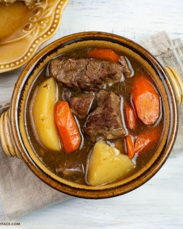 Overhead photo of a bowl filled with beef stew.