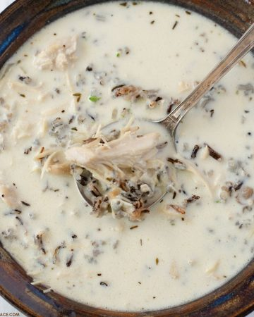 Closeup overhead photo of a bowl of creamy mushroom soup.