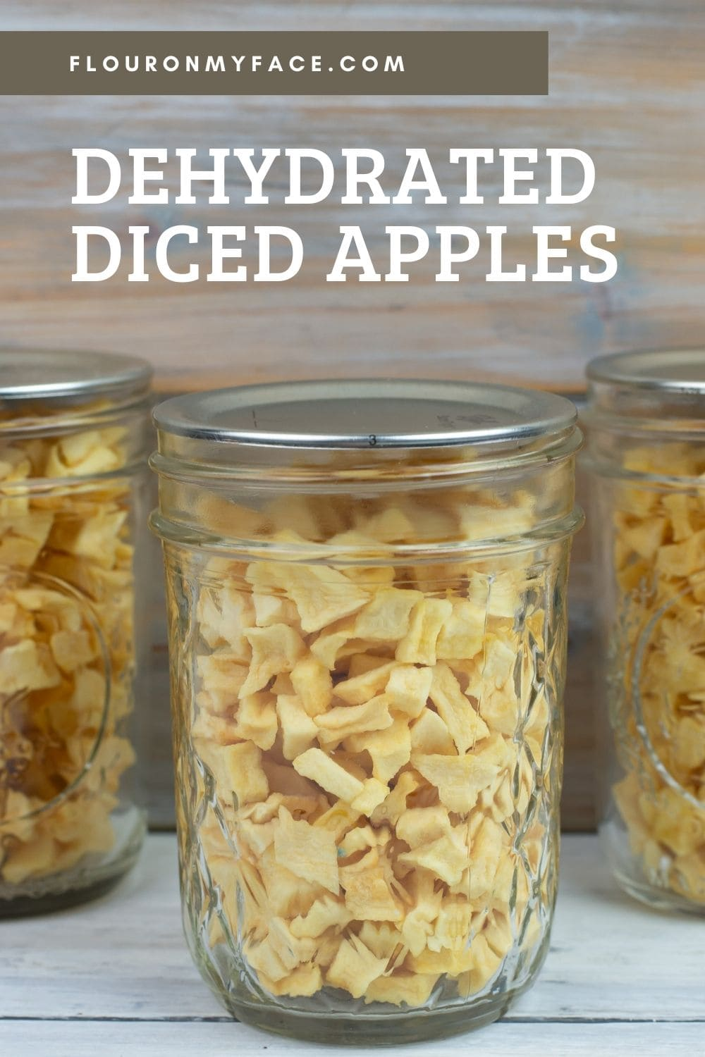Dried Apple pieces in a jar.