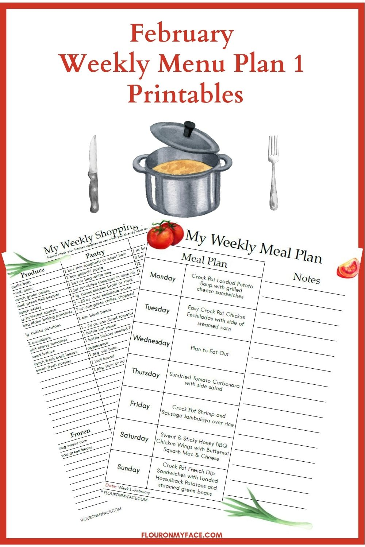 February Weekly Menu Plan Printable Preview.