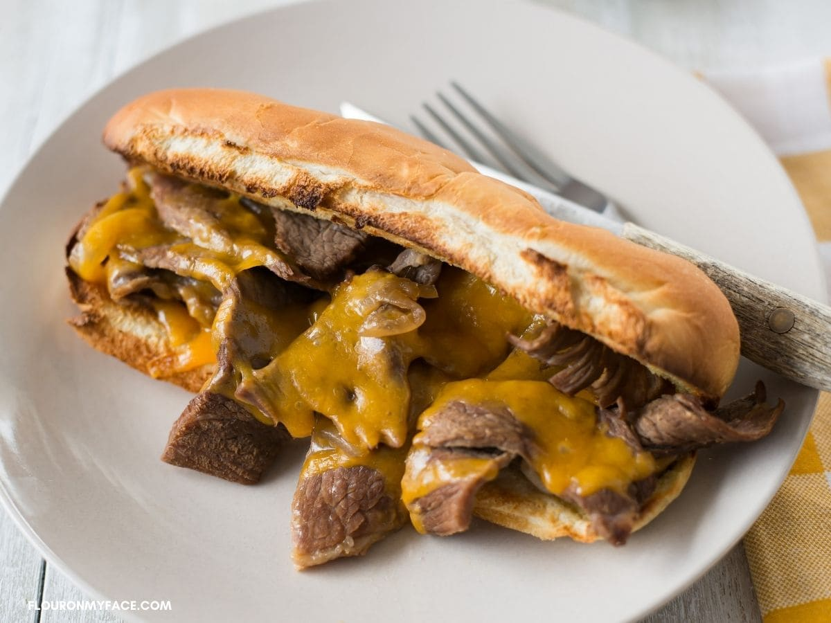 French Dip Steak Sandwich on a plate.