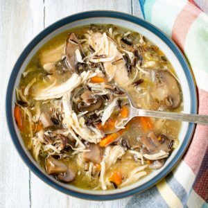 Overhead photo of chicken mushroom and wild rice soup.