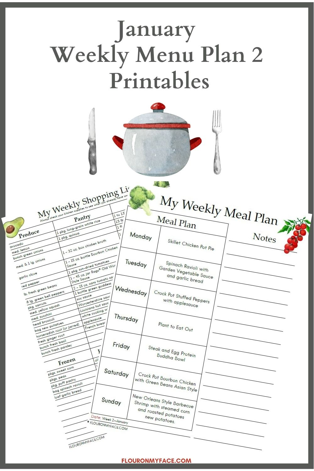 A preview image of the weekly menu plan printables.