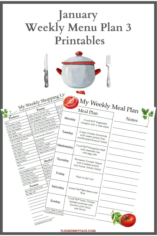 January Weekly Menu Plan Printables Preview Image.