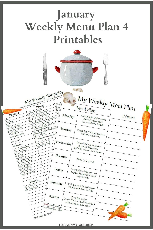 Preview image of January Menu Plan 4 Printables.