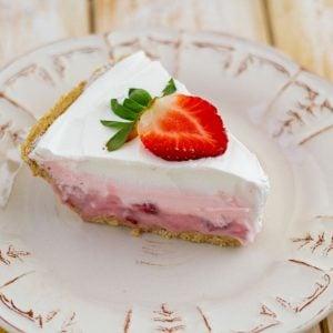 sliced strawberry pudding pie.