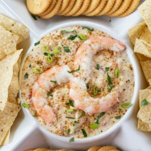 Overhead photo of hot shrimp dip in a serving plate.