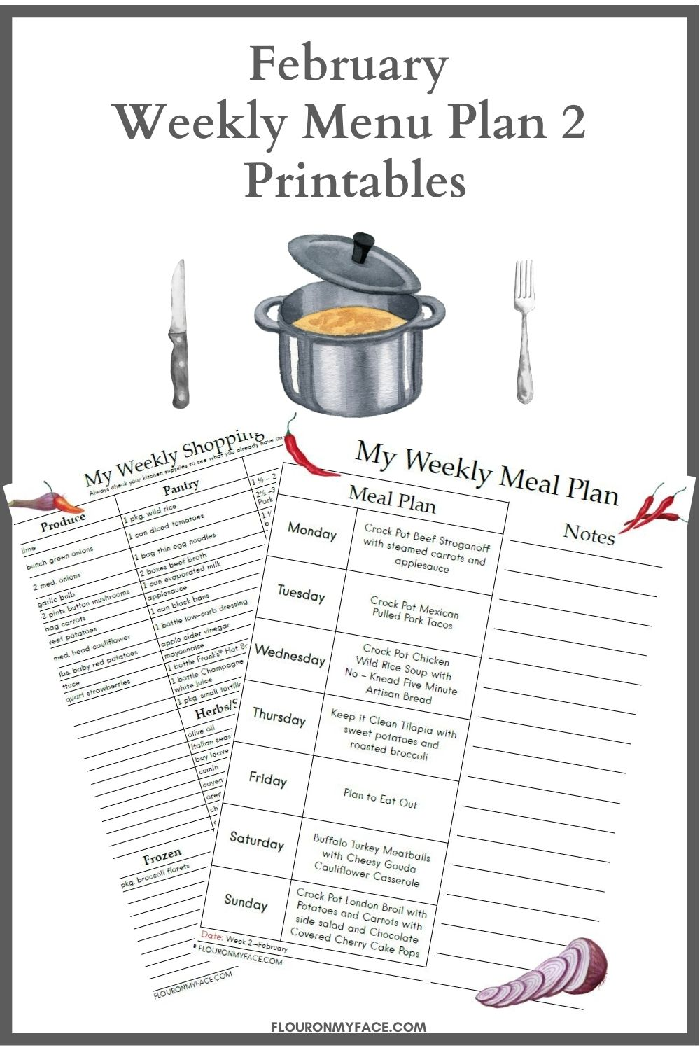 February Menu Plan 2 printable preview.