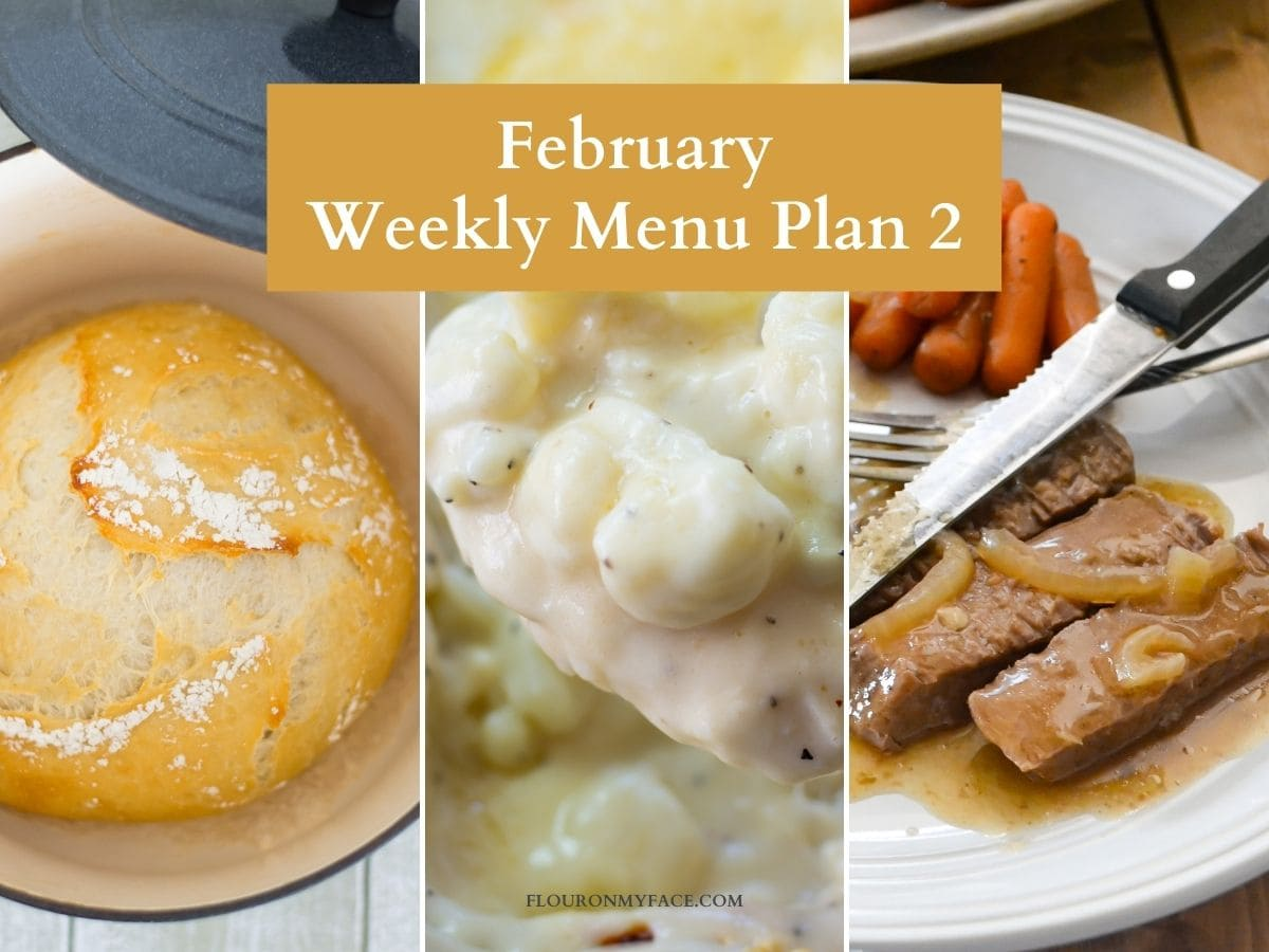 Collage preview of menu plan recipes.