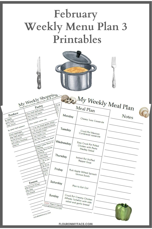 February Menu Plan 3 Printable Preview.