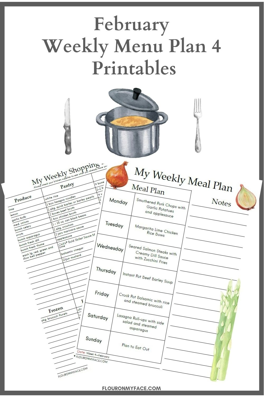 February Menu Plan 4 Printables Preview.
