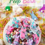 Colorful Easter Bark on a cake plate.