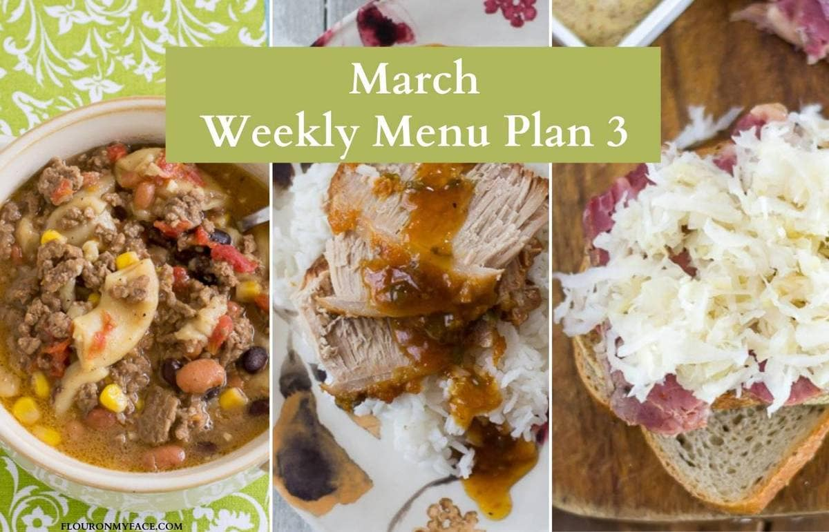 March weekly menu plan recipes preview image.