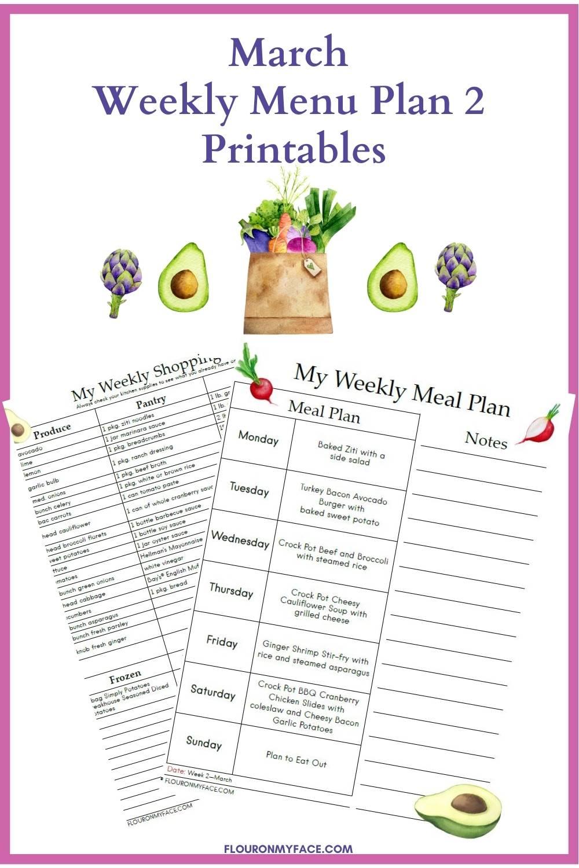 March Weekly Menu Plan 2 printable preview.