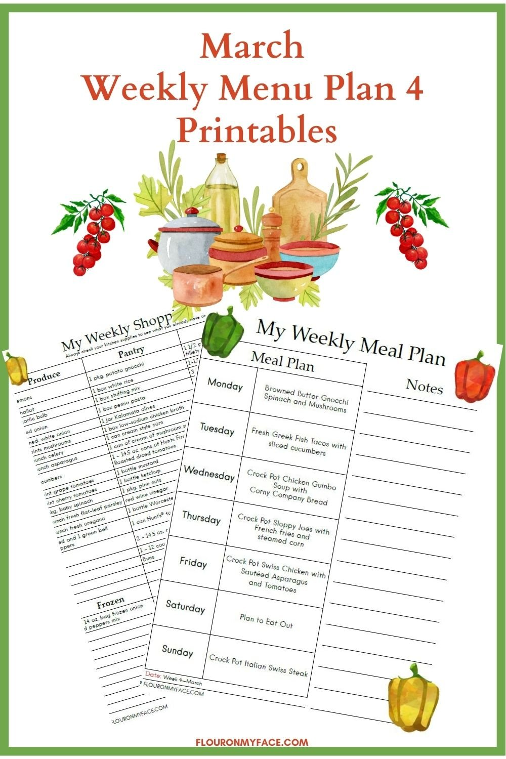 March meal plan printable preview image.
