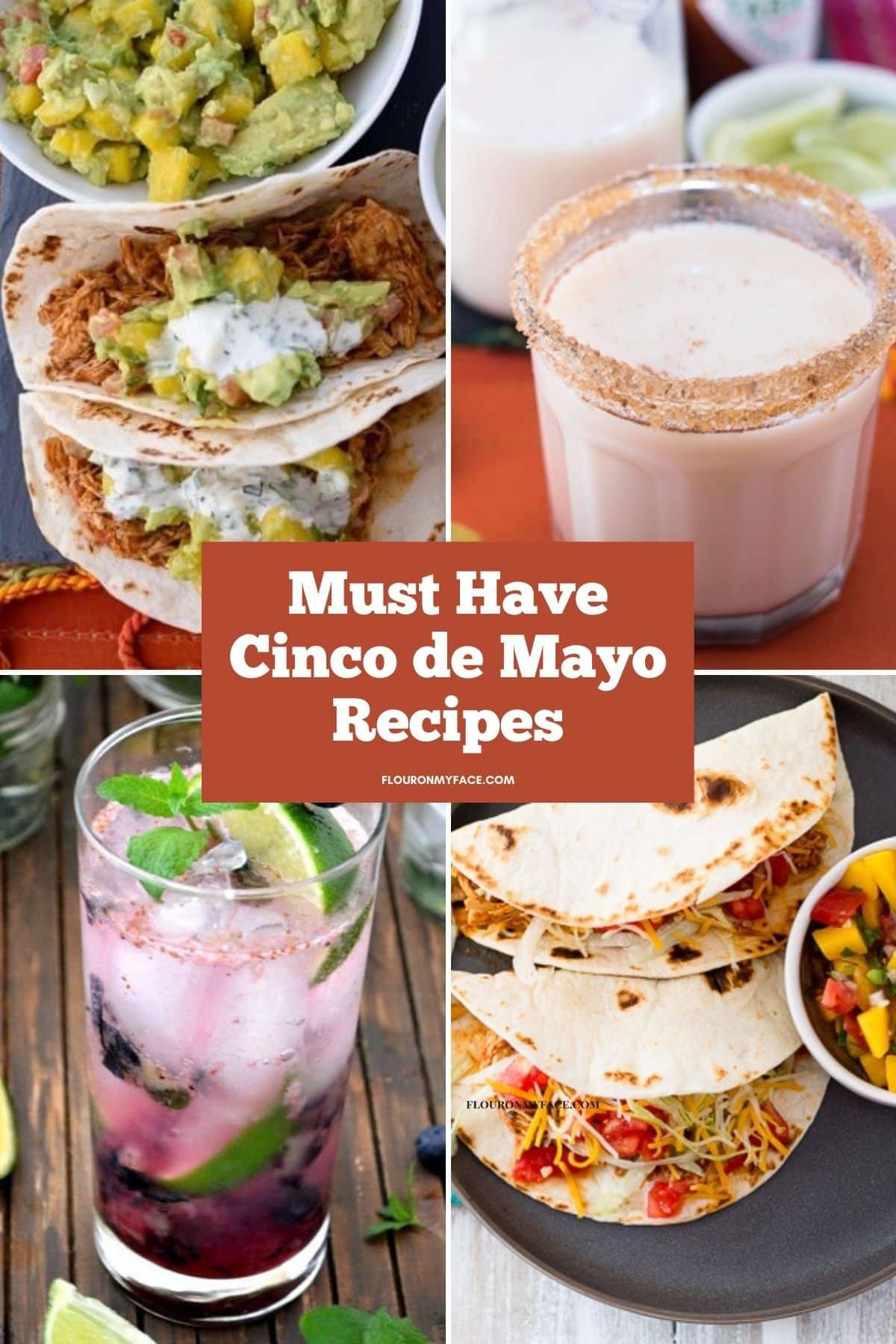 4 photo collage of Cinco de Mayo recipe previews.