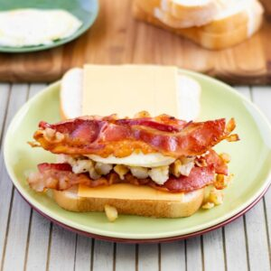 Grilled Cheese Breakfast Sandwich on a plate before grilling.