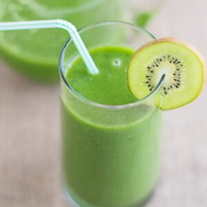Kiwi Cucumber Smoothie in a tall glass.
