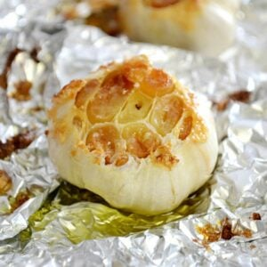 A head of roasted garlic.