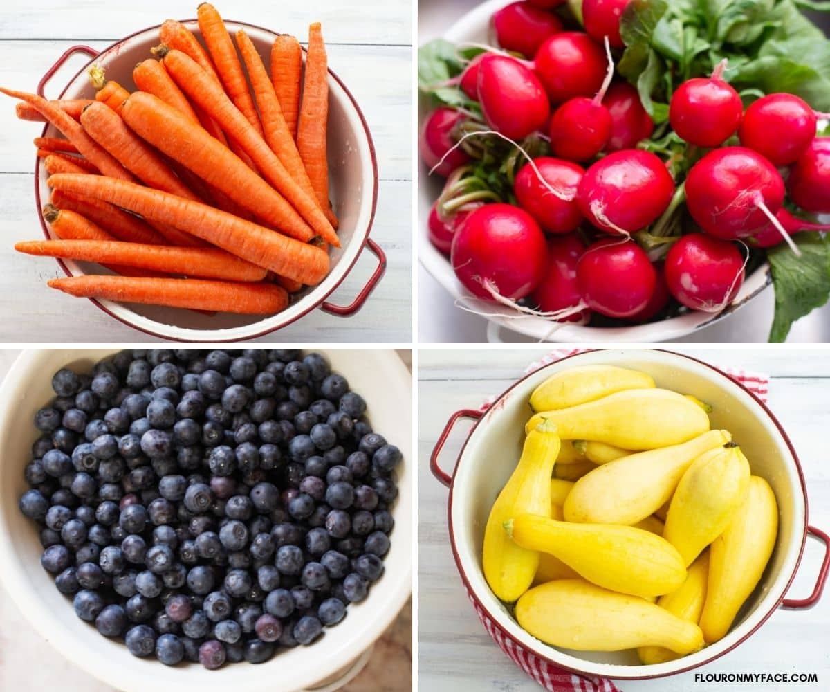 Collage image of fresh carrots, radishes, blueberries, and yellow squash.