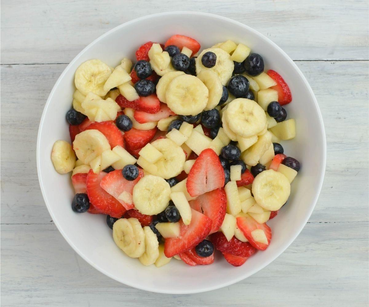 A bowl of mixed fruit.