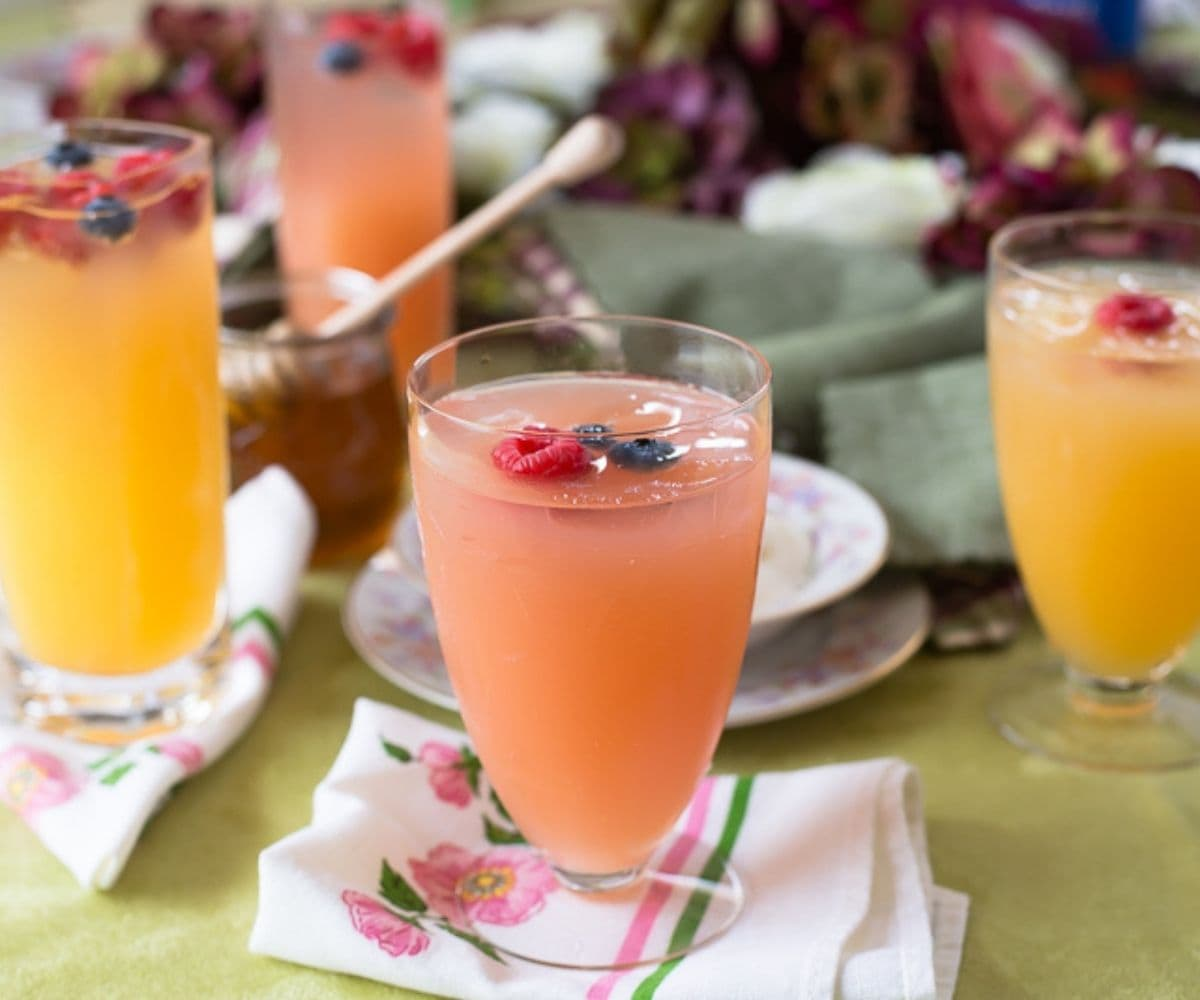 Pink Rose Mimosas on a table.