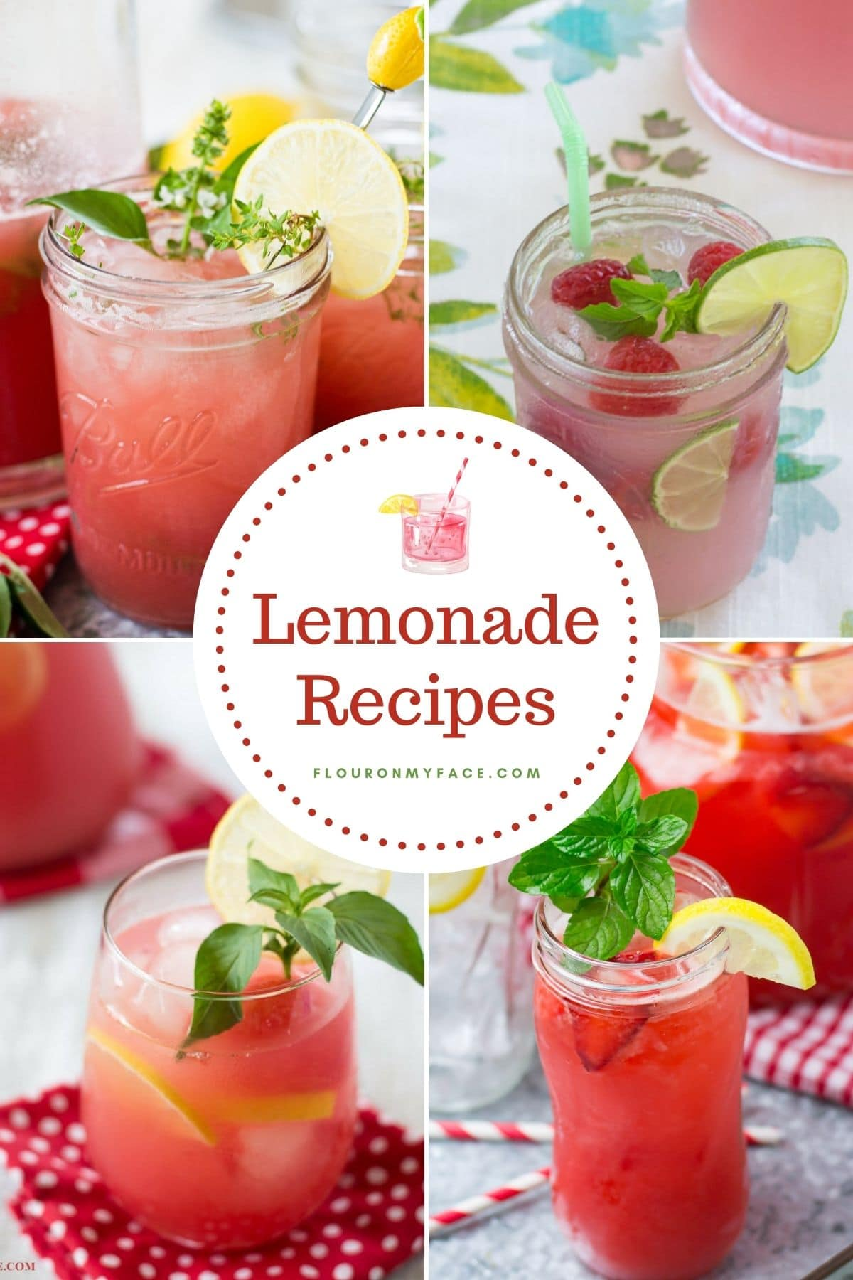 Four photo collage of fruity and herbal flavored homemade lemonade recipes.