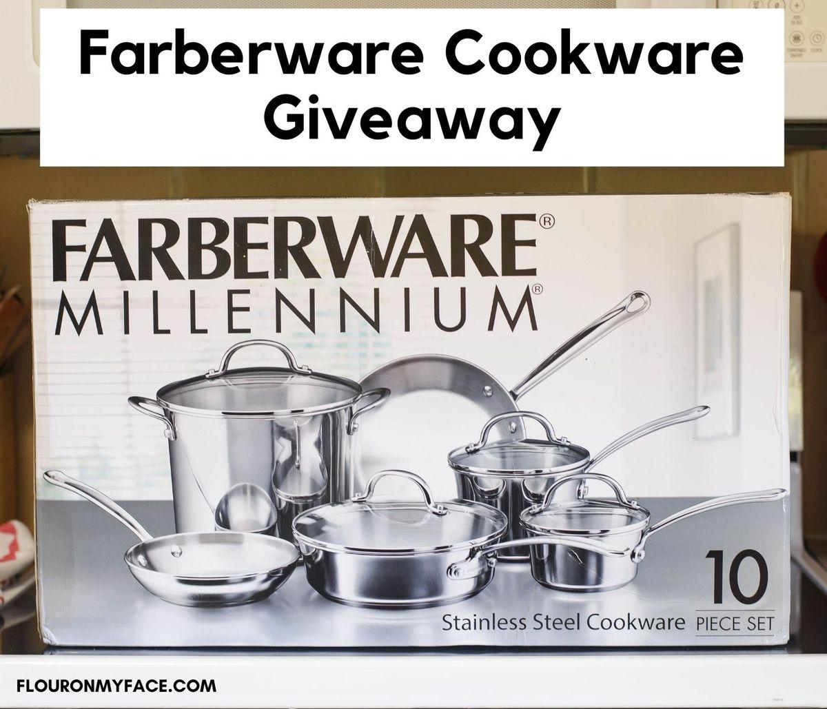 Unopened box of the Farberware 10 piece Photo of the Farberware 10 piece Millennium stainless steel cookware set.
