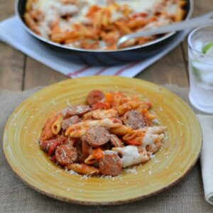 Dinner plate of Italian Sausage and Pepper Pasta.