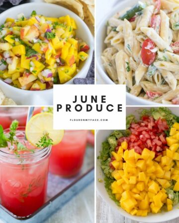 Four photo collage of recipes made with June produce.