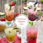 Collage image of four Mojito recipes to make for National Mojito Day