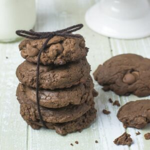 A stack of nut free double chocolate chip cookies.