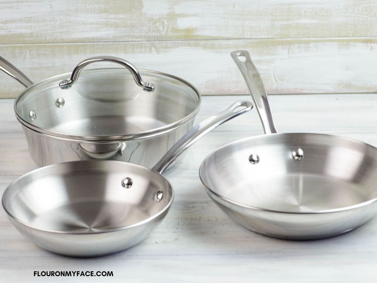 Three skillets and one lid included in the cookware set giveaway.