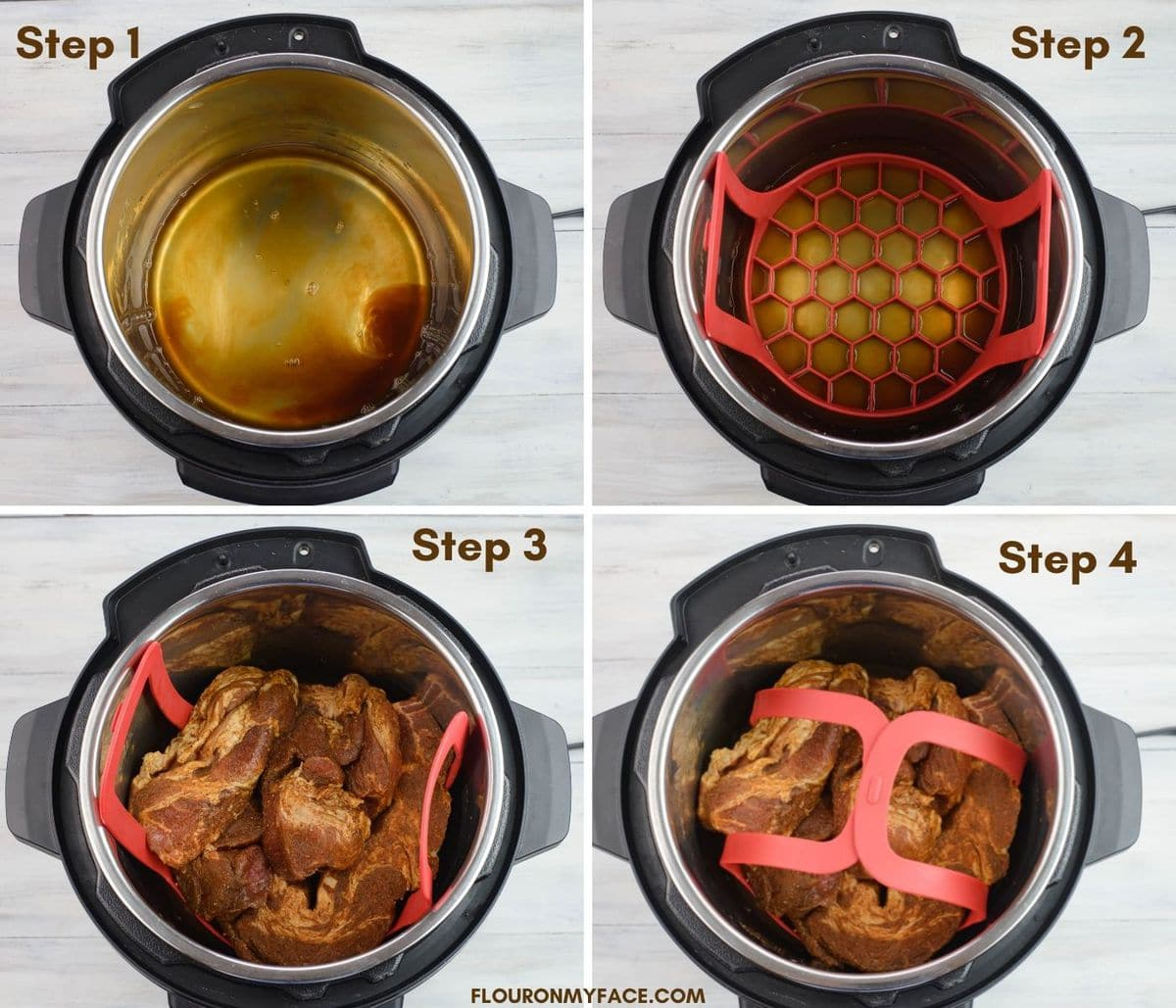 Four photo collage of the first, second, third and fourth steps to prepare the Instant Pot.