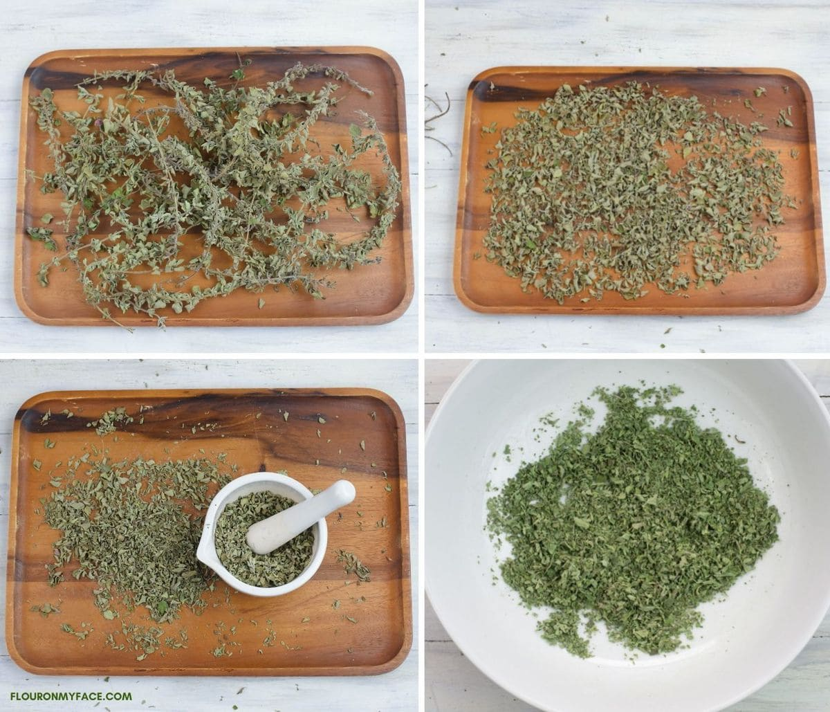 Four photo collage of the steps needed to strip and crush dried oregano stems.