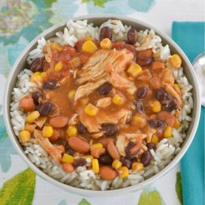 A bowl of Tex Mex Chicken Chili.